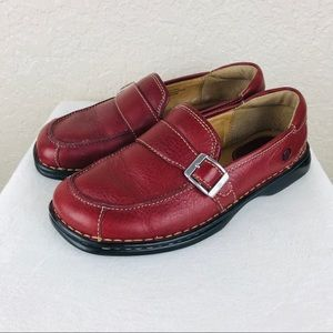 Born red slip on loafers with buckle size 9